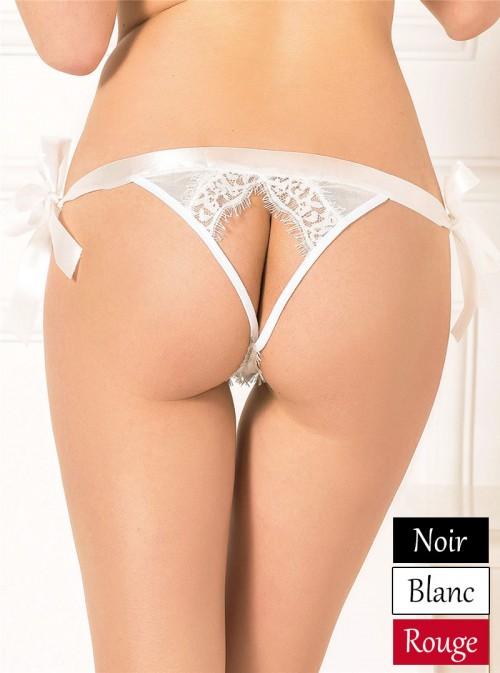 Panty culotte érotique pour femme en dentelle taille en satin | Jill