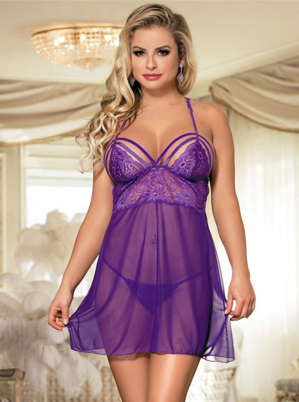 Nuisette femme violette transparente | Lisa