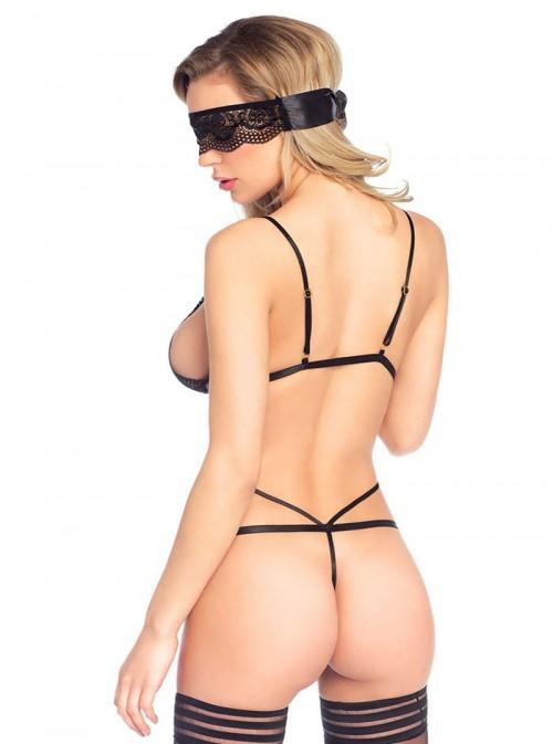 Lingerie Teddy sexy noir ficelles et dentelle | Tracy
