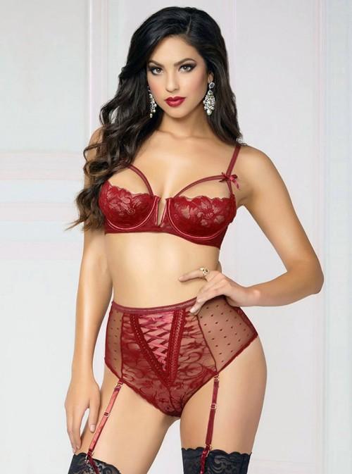 Lingerie pin-up rouge en dentelle culotte haute et soutien gorge | Amirah