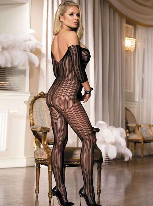 Combinaison sexy à rayures verticales et épaules nues | Alanis