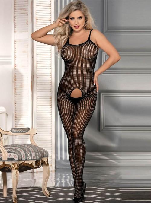 Bodystocking noir sexy | taille classique ou grande taille | Marina