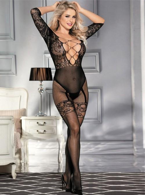 Combinaison femme résille, dentelle et épaules nues | Tatiana