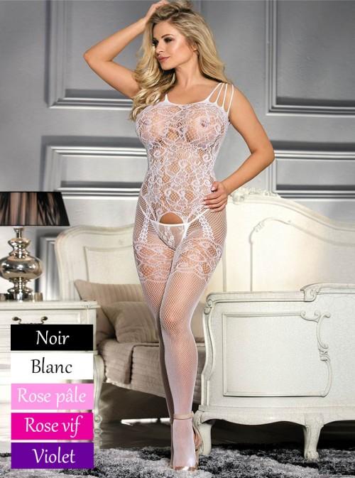 Combinaison femme sexy en résille | rose, violet, blanc ou noir | Adélie