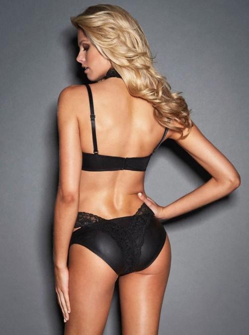 Ensemble lingerie cuir soutien gorge et culotte avec dentelle | Crista