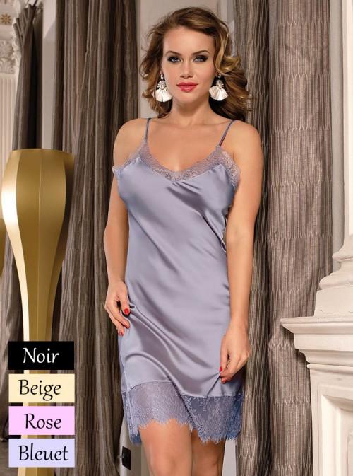 Lingerie nuisette en satin | beige, bleu-gris, rose pâle ou noir | Kendra
