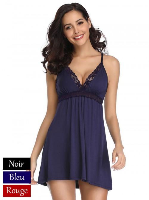 Nuisette en coton | Noir, Bleu nuit ou Rouge | April