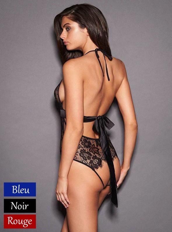 Body sexy en dentelle ouvert sur les fesses   Capri