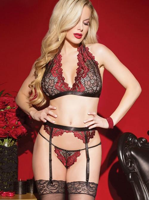 Ensemble sexy en dentelle avec porte-jarretelles noir et rouge | Svetlana