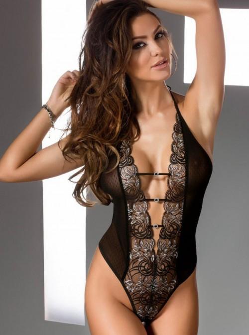 Body sexy décolleté en V et lacets | Crystal