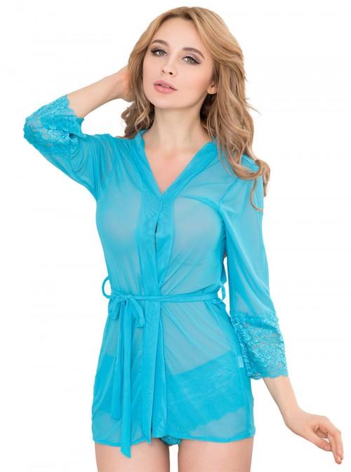 Ensemble lingerie bleu turquoise déshabillé et culotte dentelle | Shanon