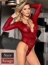 Body femme rouge foncé en dentelle manches longues et décolleté en V | Nina