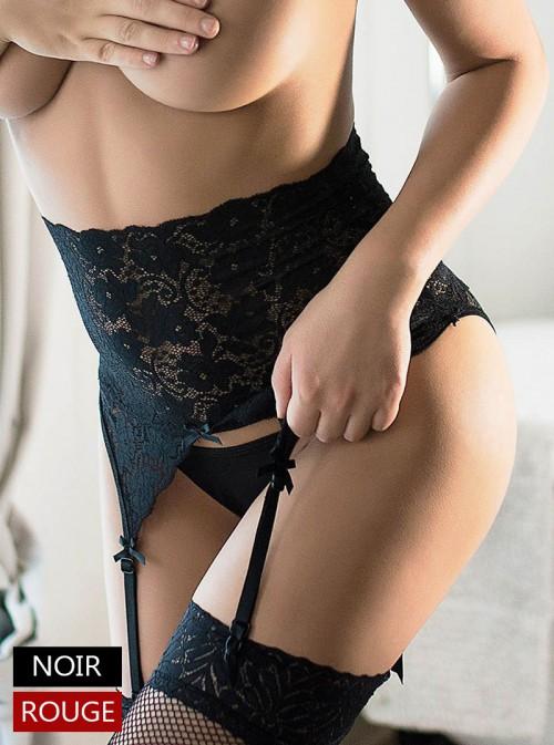 Porte-jarretelles taille haute pin-up en dentelle noir | Noor