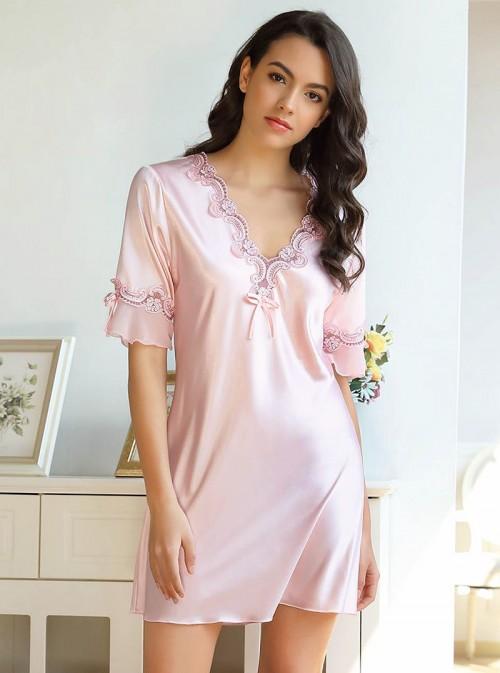 Chemise de nuit rose dragée en satin | Banoï