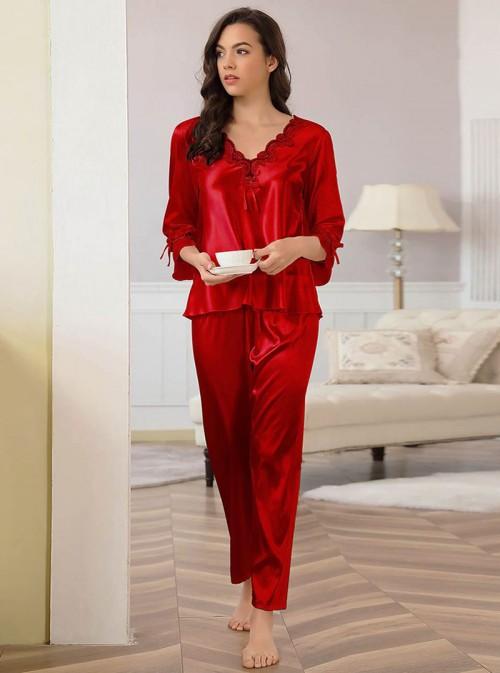 Pyjama en satin rouge pantalon + chemiser | Aline
