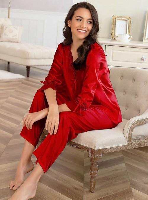 Pyjama satin rouge Aline