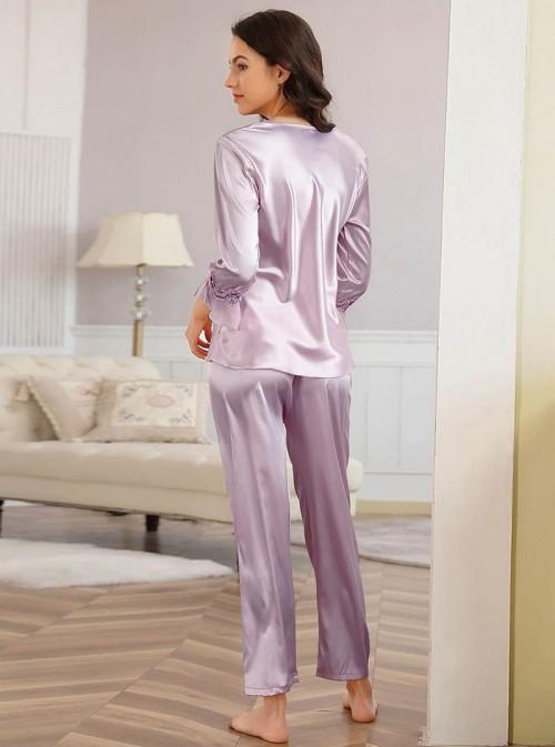 Pyjama femme confort en satin violet | janna
