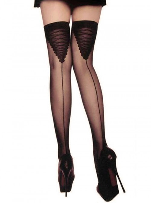 Bas coutures nylon avec imprimés lacets | Terry