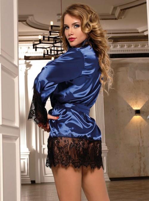 Lingerie peignoir bleu en satin avec dentelle noire | Kat