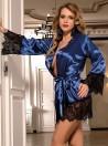 Peignoir satin bleu Kat