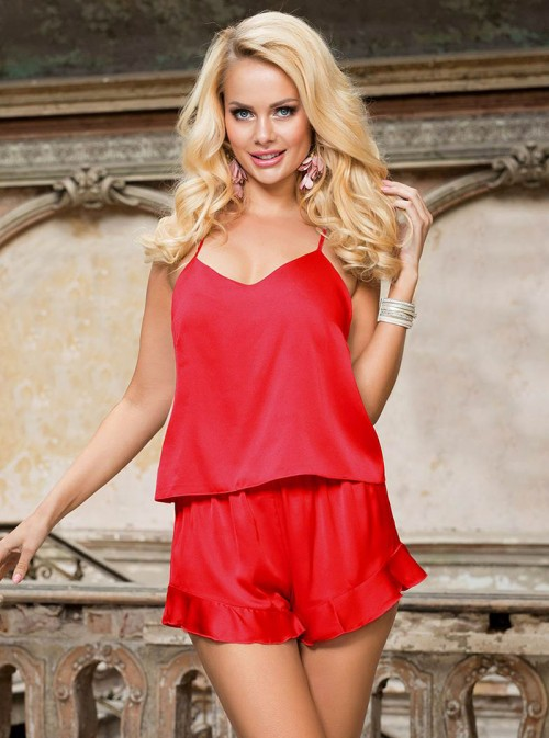 Ensemble short et caraco satin rouge Naomi