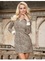 Chemise de nuit motifs léopard et manches longues
