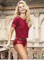 Pyjama coton et dentelle caraco + culotte | Noir, Marin ou Rouge | Jordana