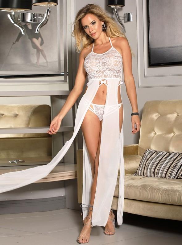 Lingerie robe longue blanche sexy avec dentelle et voile transparent   Ania