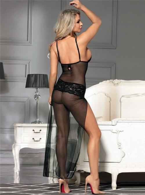 Robe de nuit sexy longue fendue noire | Erika