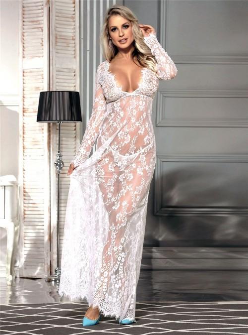 Robe longue dentelle blanche Tania