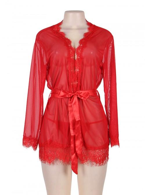 Lingerie de nuit déshabillé peignoir rouge | Julietta