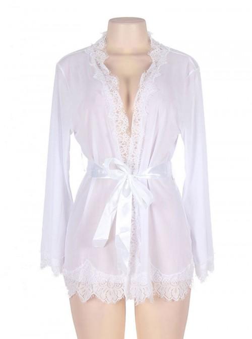 Lingerie de nuit déshabillé peignoir blanc | Bianca