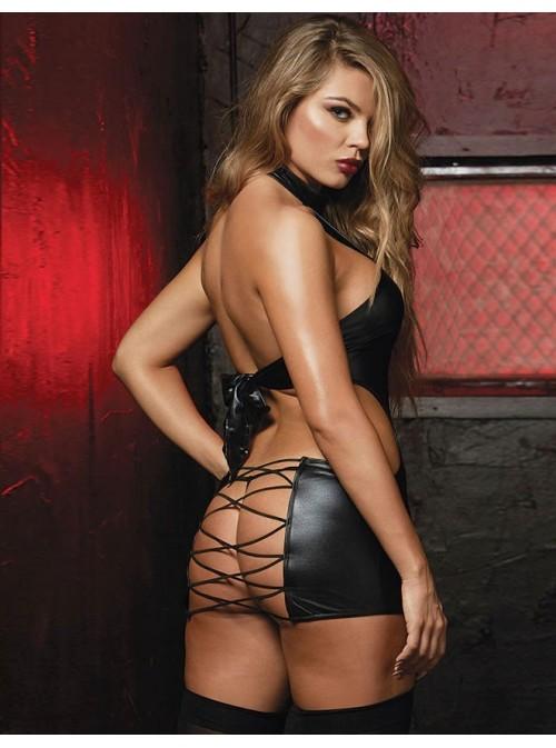 Guêpière ouverte sexy effet cuir avec ficelles | Jodie