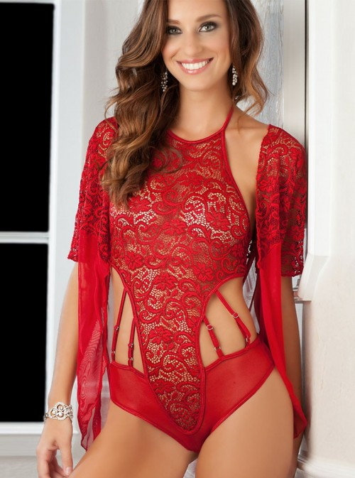 Body + Gilet Dentelle Rouge Lorna