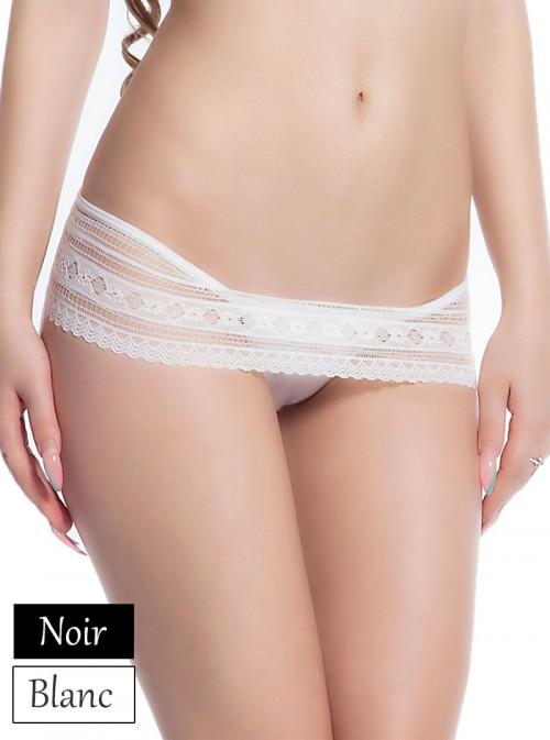 Panty string élégant en dentelle noir ou blanc | Héléna