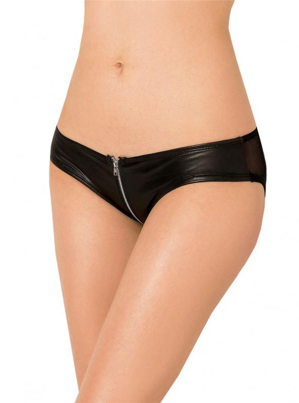 Culotte noire cuir wetlook & fermeture éclair zip avant | Savanna